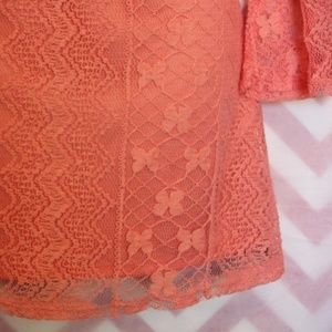 Red Camel Tops - Red Camel Coral Lace Overlay Tunic Size S NWT